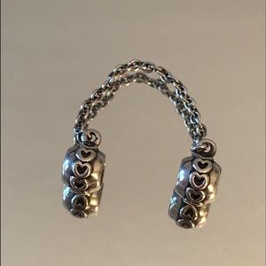 Pandora sterling silver hearts safety chain